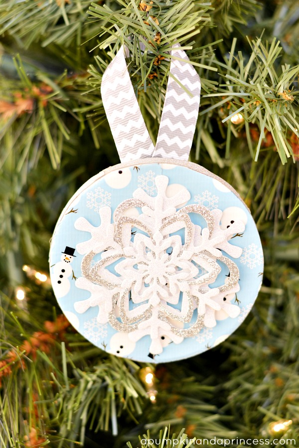 Just take some duct tape and some snowflakes to create this festive handmade Christmas ornament