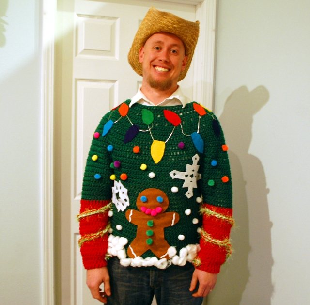 First crochet your sweater! This handmade Ugly Christmas sweater takes things to a whole new level!